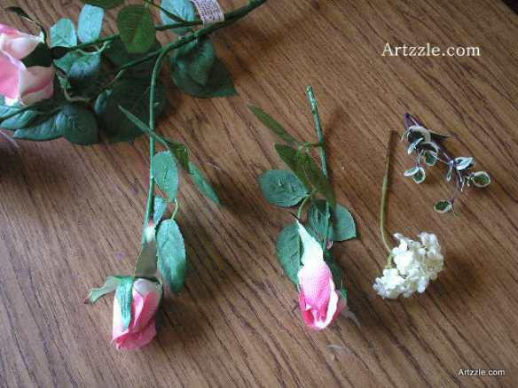 Our primary flowers are the roses, with 3 sizes of blooms on each stem. For the bouts, I've cut the smallest bud, which will be the main flower in the boutonniere. Always give your cuts as much of the stem as possible; too long is better than too short!