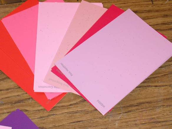 Paint sample cards available FREE at any paint department or store